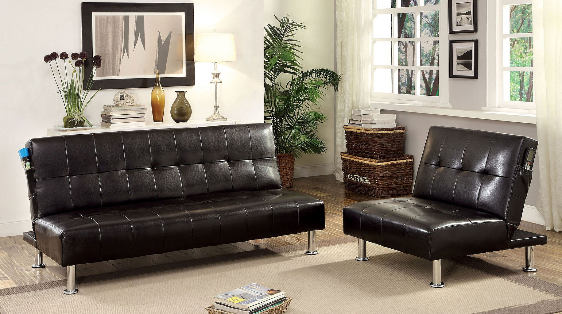 bulle living room set black furniture of america furniture cart. Black Bedroom Furniture Sets. Home Design Ideas