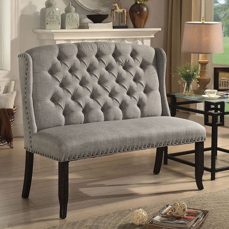 Tripton Extra Large Upholstered Bench: Sania III 2-Seater Loveseat Bench (Light Gray) Furniture