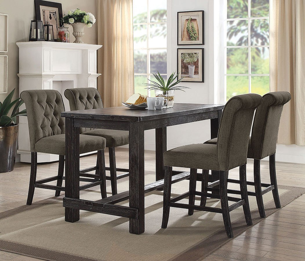 Sania III Counter Height Rectangular Dining Set W/ Gray Chairs