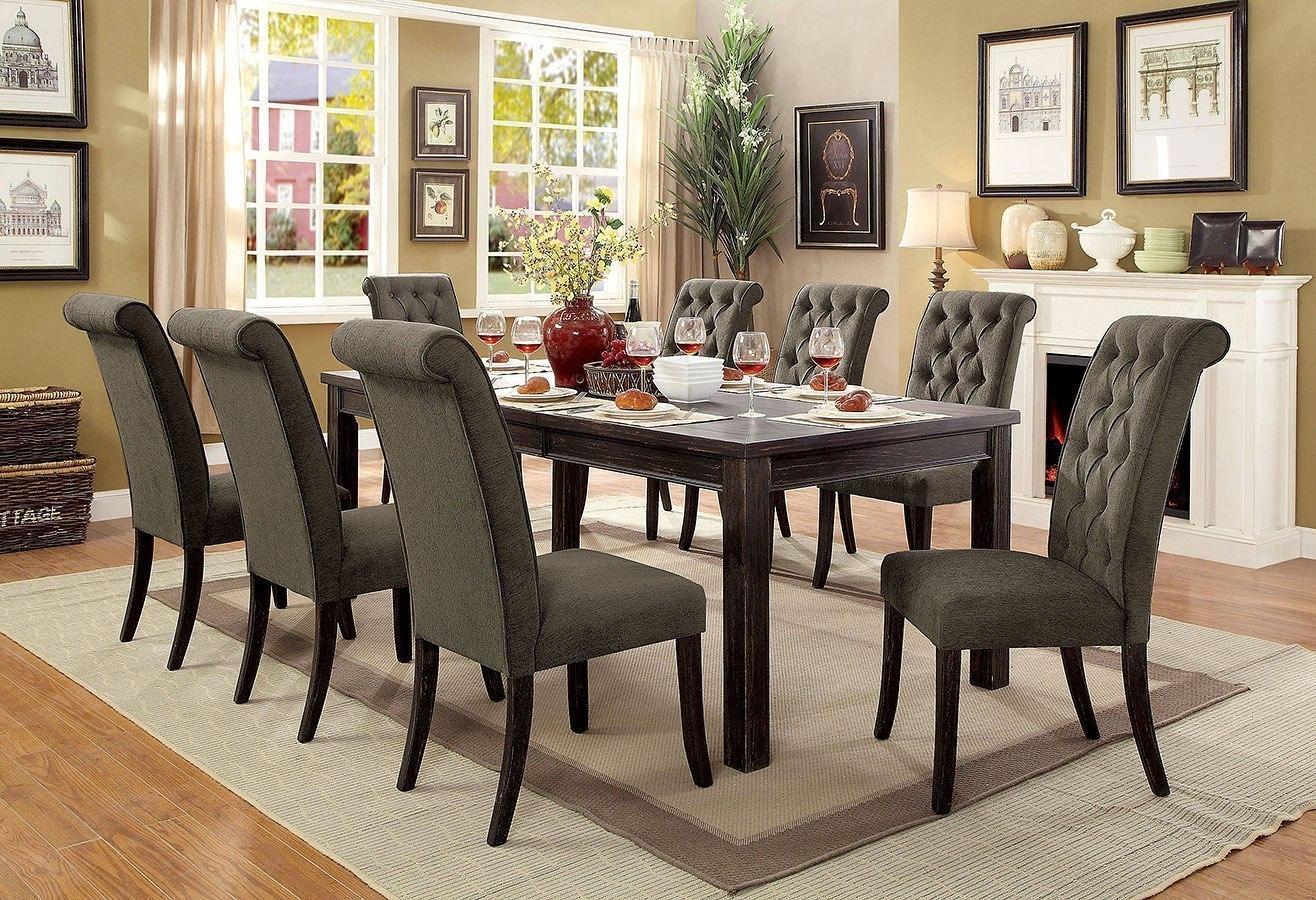 Sania Iii 84 Inch Dining Room Set W Gray Chairs