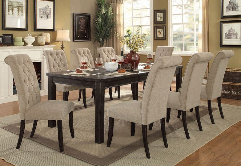 Sania III Inch Dining Room Set W Beige Chairs Furniture Of - 84 inch dining room table