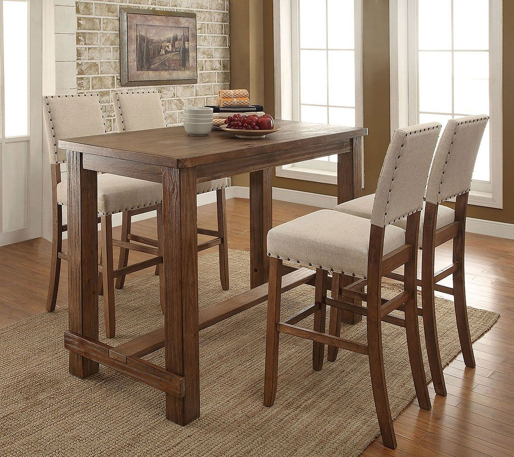 Bar For Dining Room: Sania II Bar Height Dining Room Set (Natural Tone