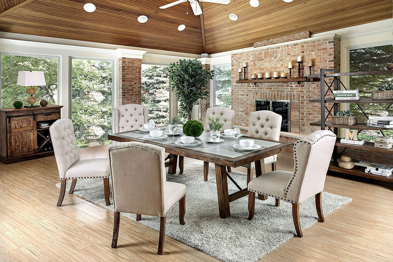 Colette Dining Room Set W/ Ivory Chairs