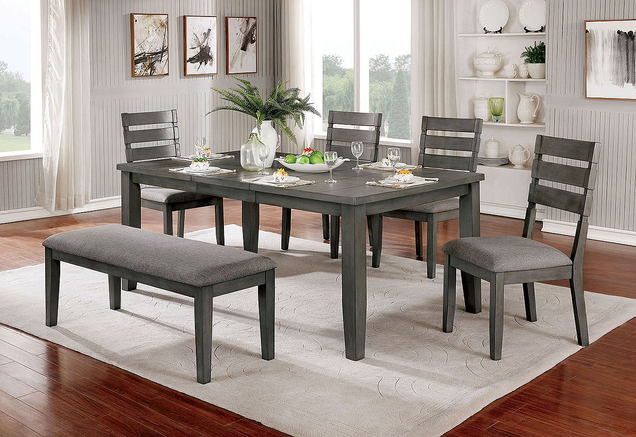 Viana Expandable Dining Room Set W Bench
