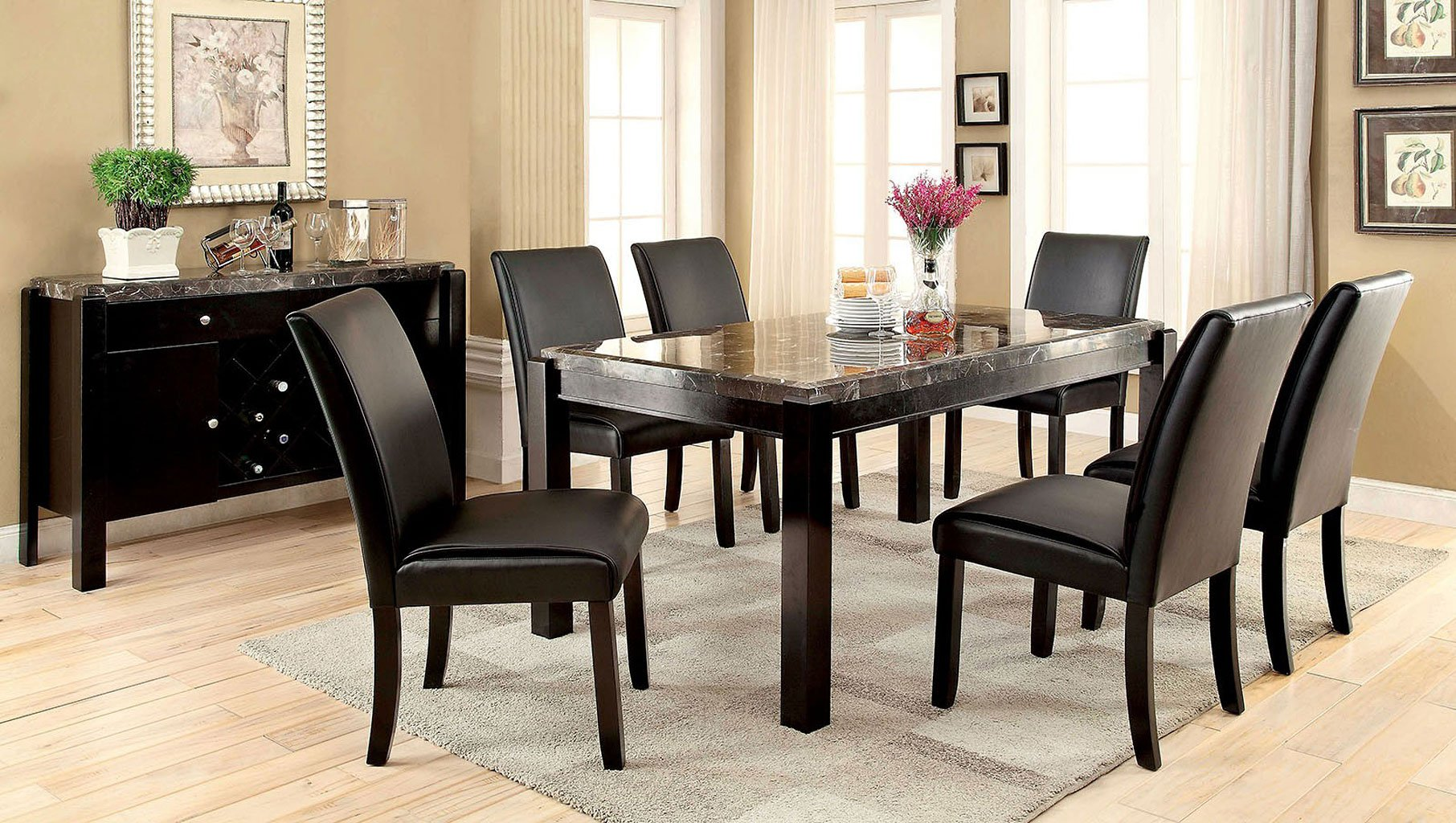 Gladstone I Black Marble Top Dining Room Set