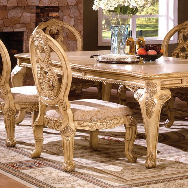 Tuscany II Side Chair (Antique White) (Set of 2) by Furniture of - Tuscany II Dining Room Set (Antique White) Furniture Of America