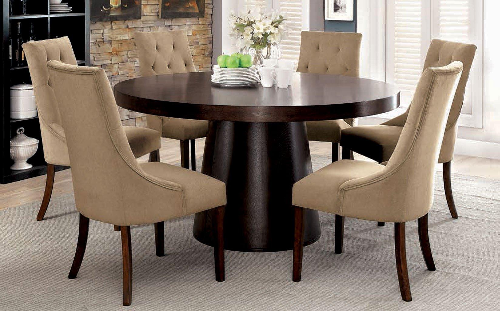 Havana Round Dining Room Set W Light Brown Chairs