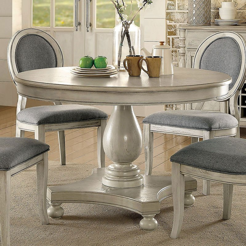 Siobhan Round Dining Table (Antique White) Furniture Of