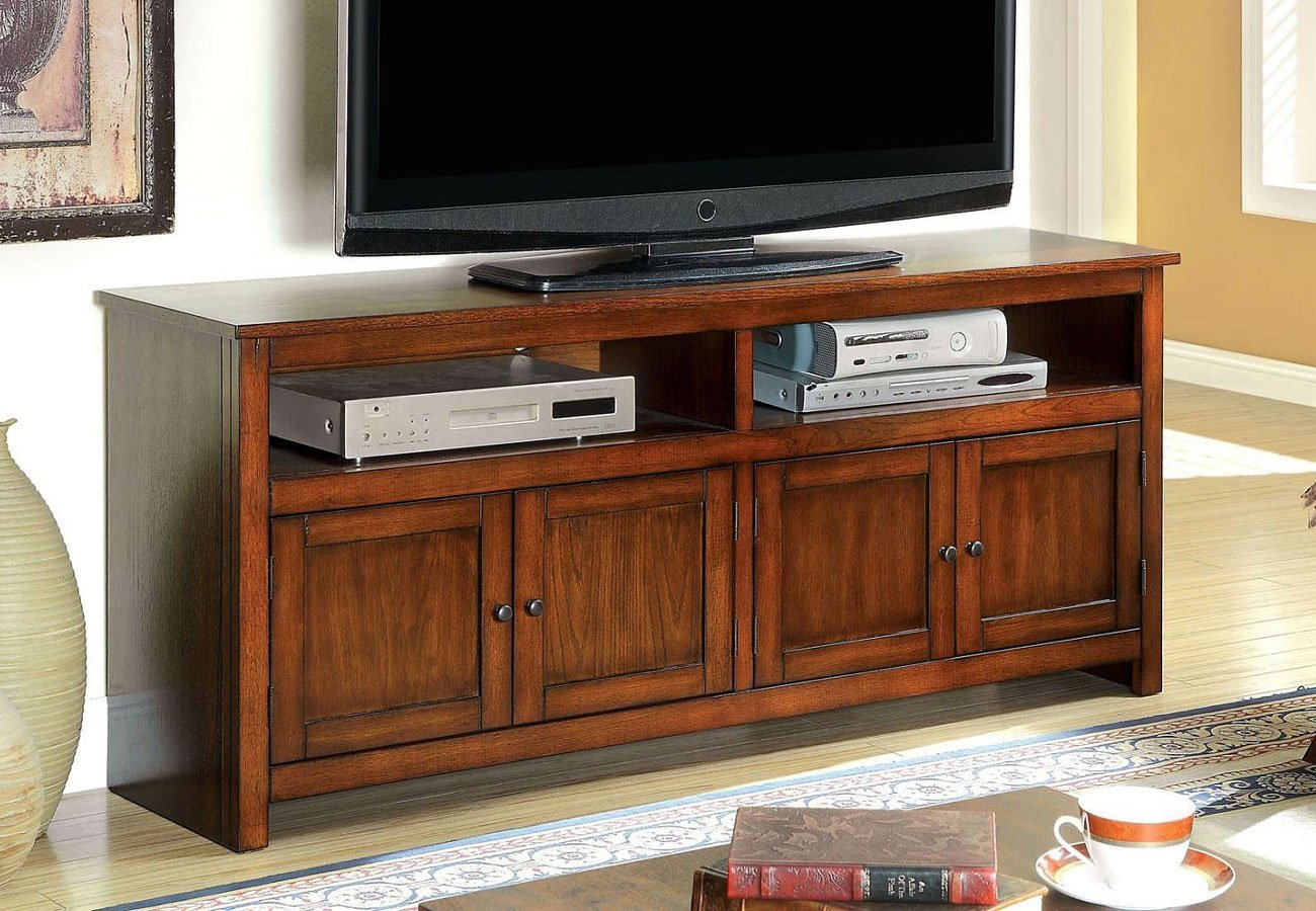 Regent 60 Inch Tv Console Antique Oak Furniture Of America Cart