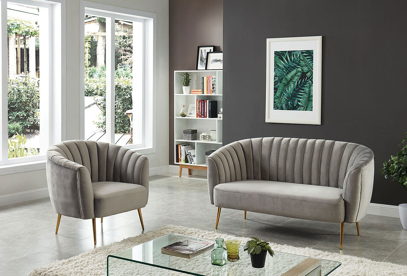 Dionne Living Room Set (Gray) Furniture Of America