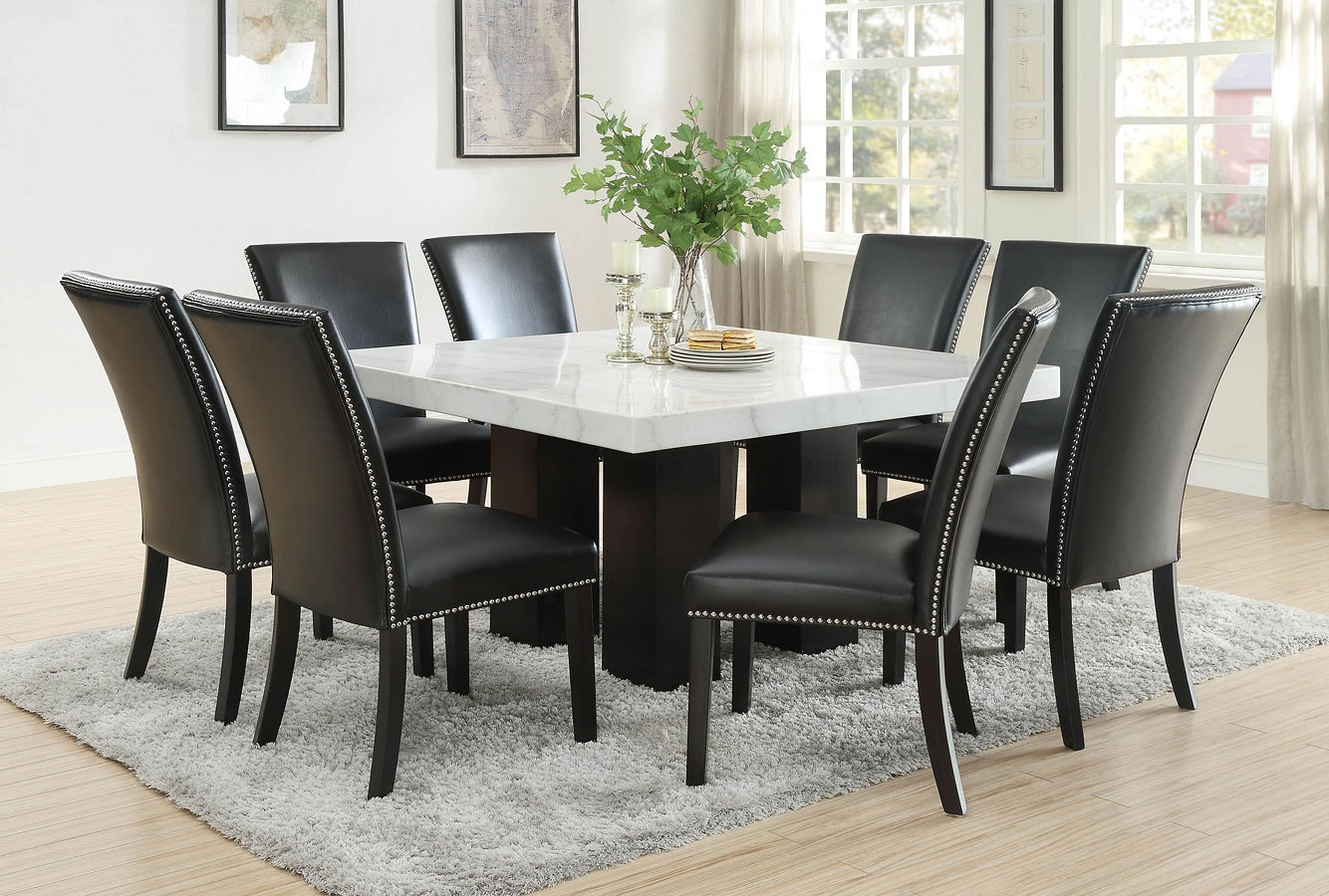 Picture of: Camila Square Dining Room Set W Black Pu Chairs Steve Silver Furniture Furniture Cart