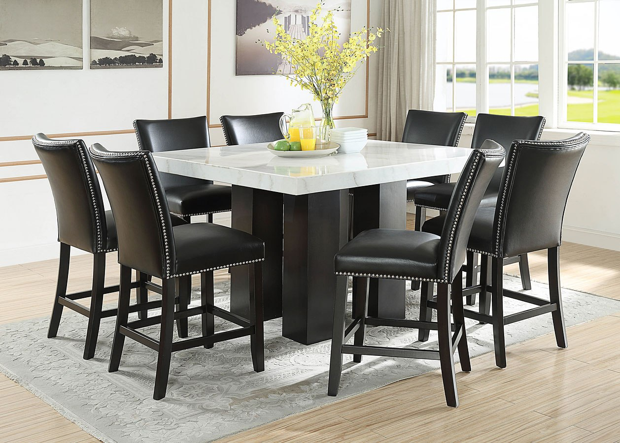 Camila Square Counter Height Dining Set W Black Chairs Steve Silver Furniture Furniture Cart