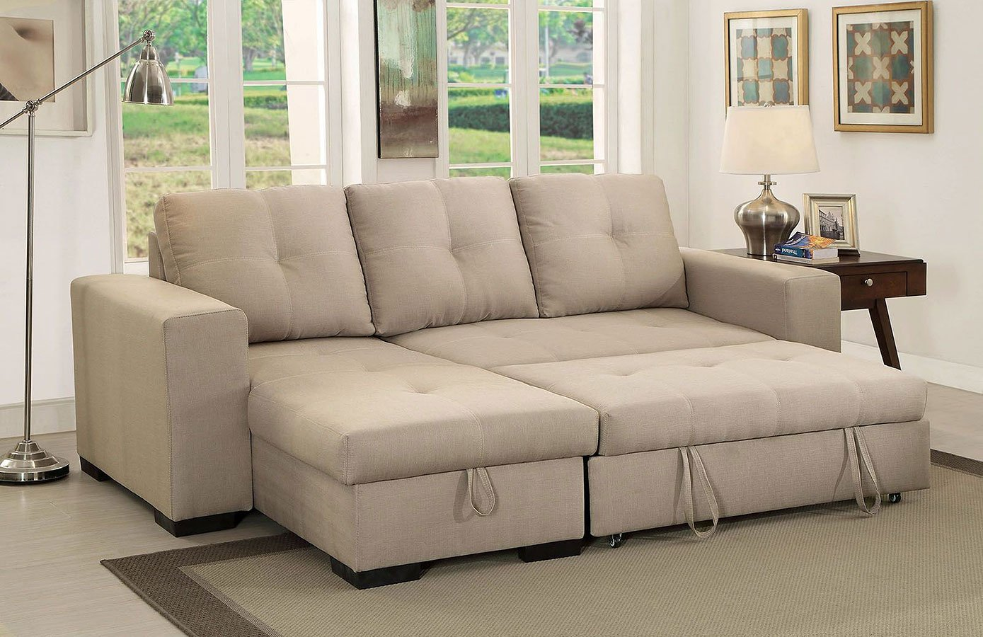Denton Sectional W Pull Out Sleeper Ivory