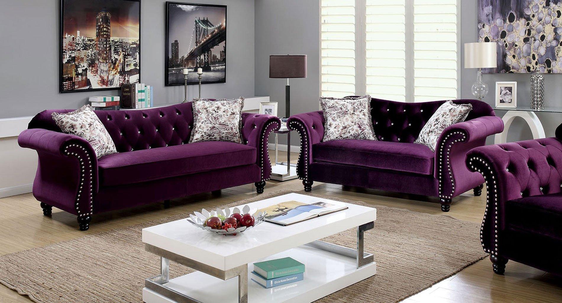Charmant Jolanda Living Room Set (Plum)