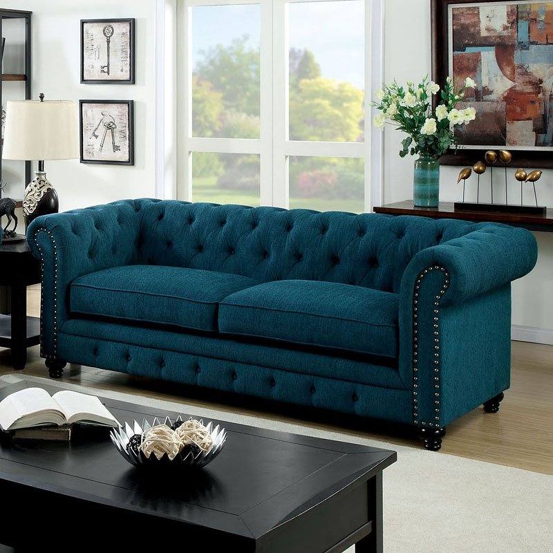 Furniture Of America Living Room Collections: Stanford Living Room Set (Dark Teal) Furniture Of America