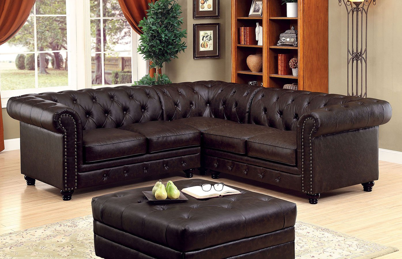 Stanford Sectional Living Room Set (Brown)