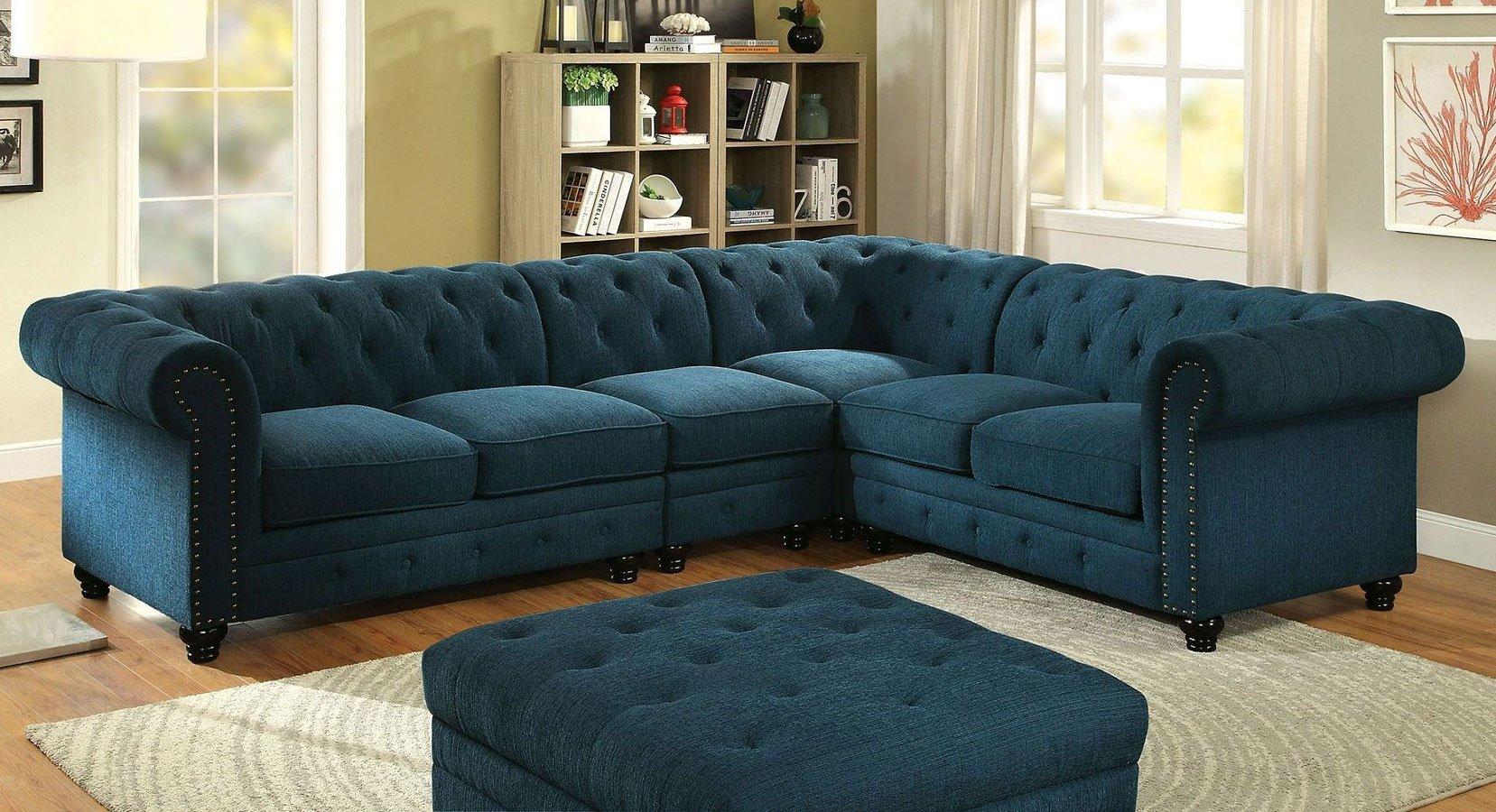 Stanford Sectional Living Room Set (Teal)
