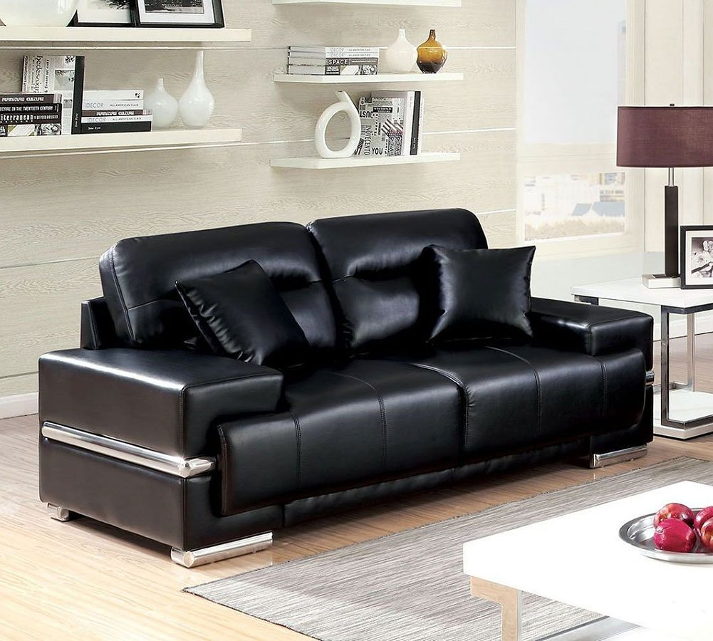 Black Living Room Furniture: Zibak Living Room Set (Black) Furniture Of America