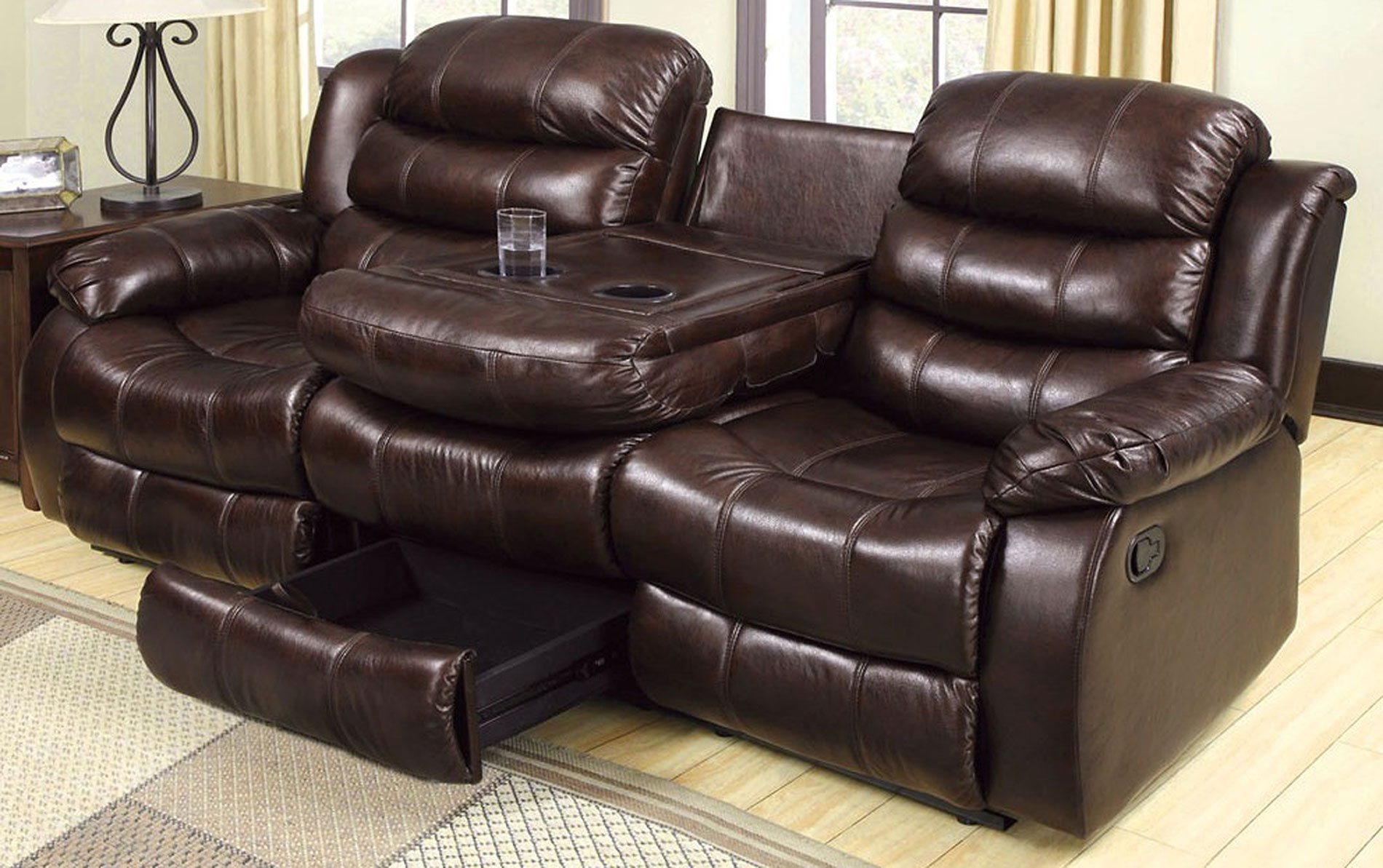 Berkshire Reclining Sofa W Flip Down Table Furniture Of America