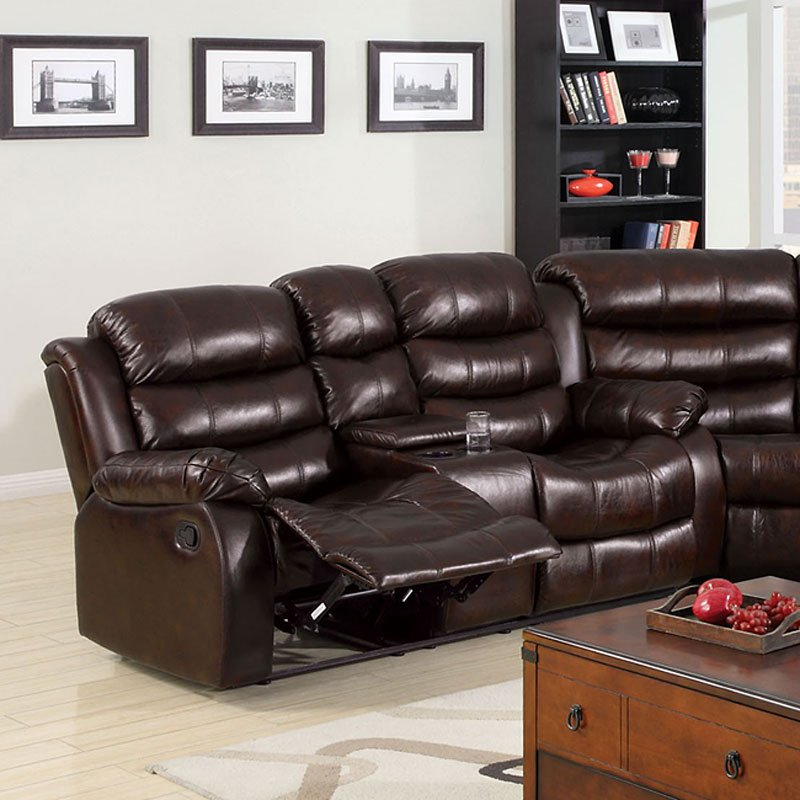 Living Room Furniture Ct: Winslow Reclining Loveseat W/ Console Furniture Of America