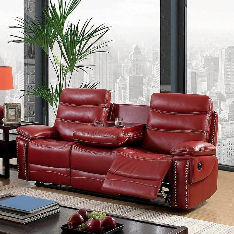Cavan Reclining Sofa W/ Drop Down Center (Red) Furniture Of America ...