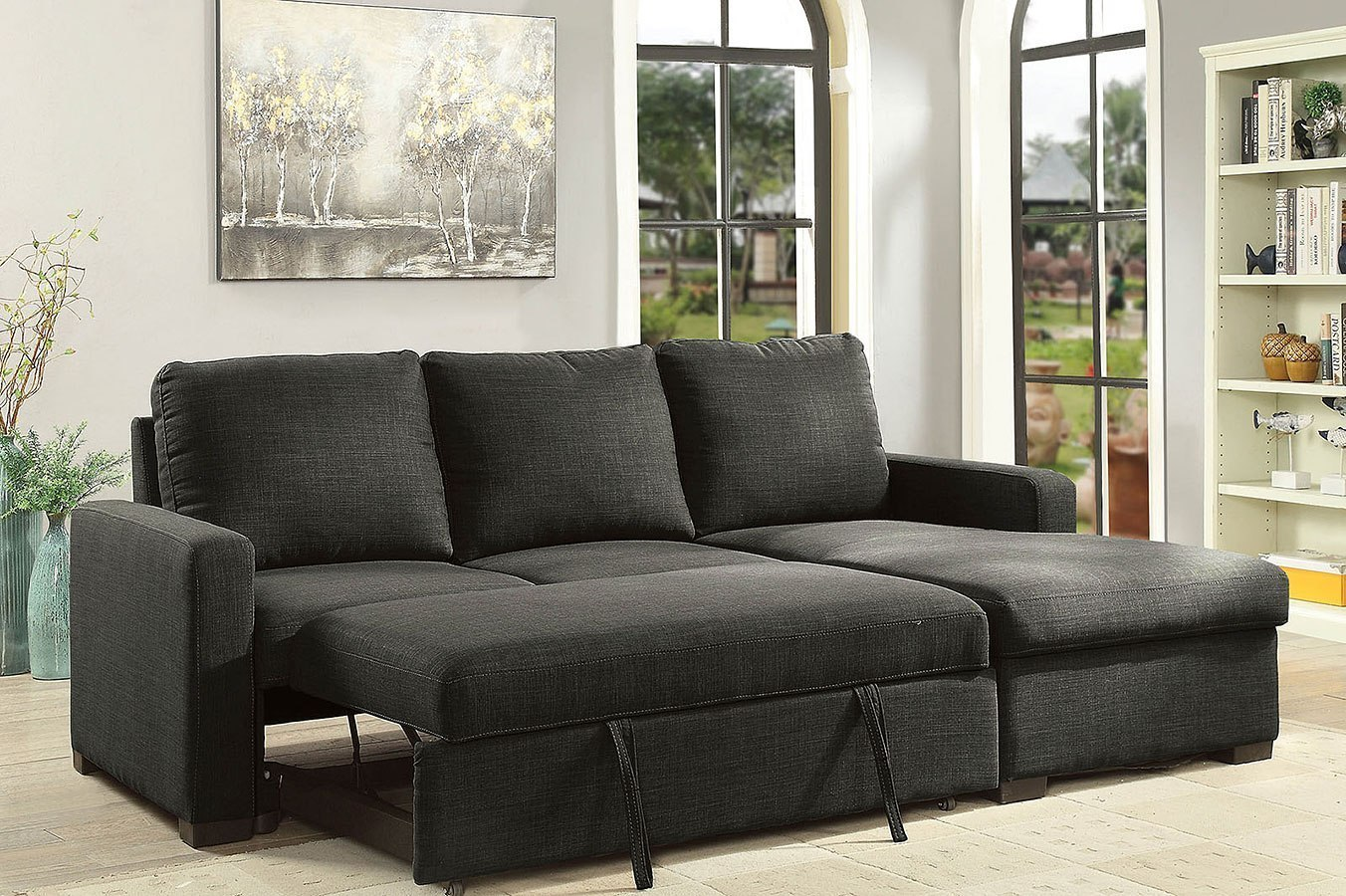 Arabella Sectional W Pull Out Sleeper Dark Gray