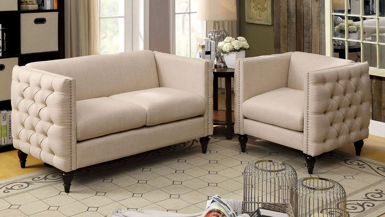 Beau Emer Beige Living Room Set