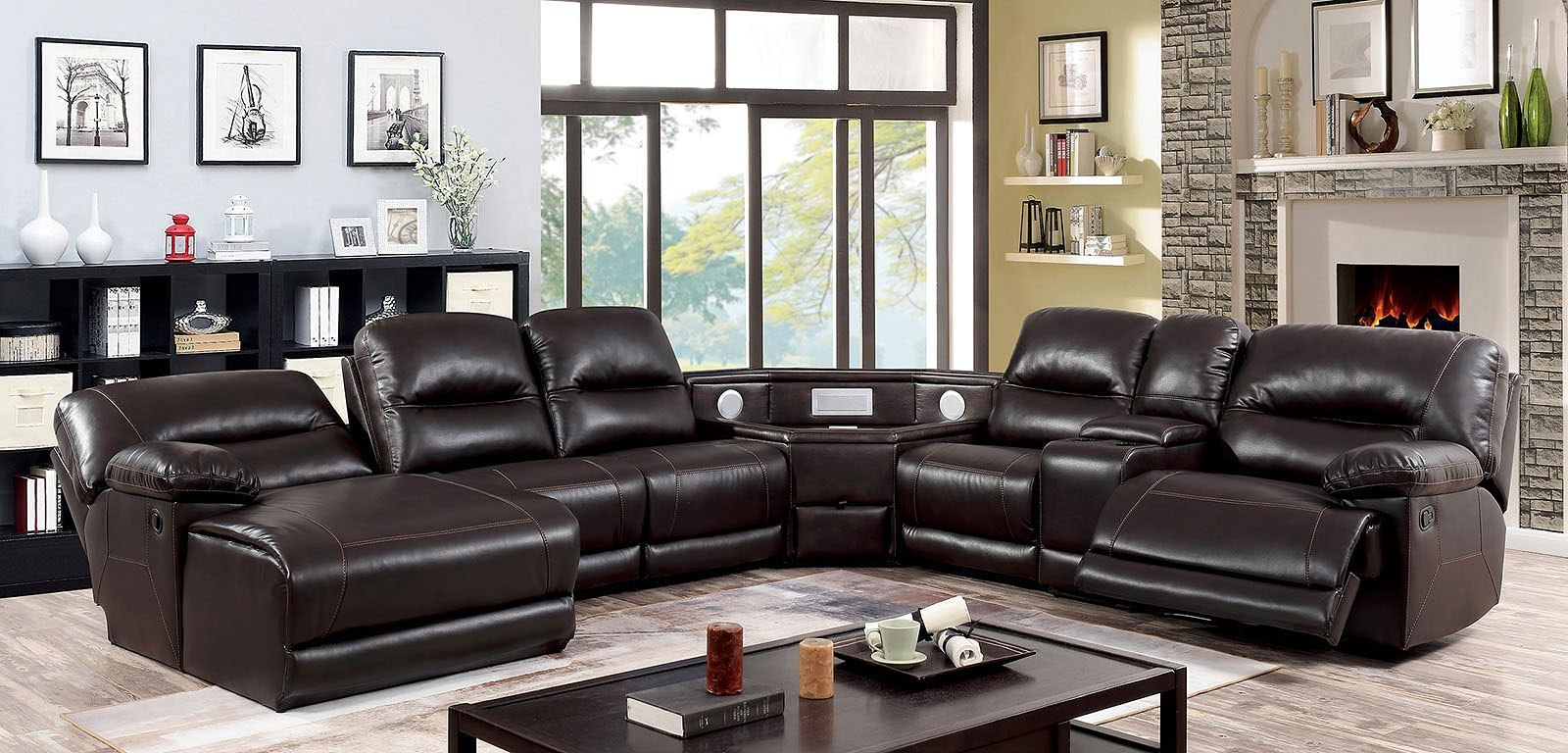 Glasgow Reclining Sectional W Speaker Wedge Table