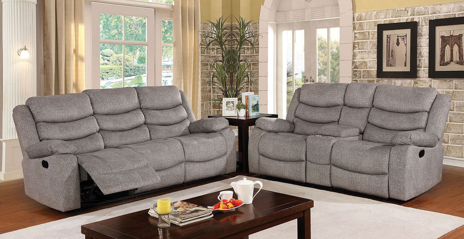 castleford reclining living room set furniture of america