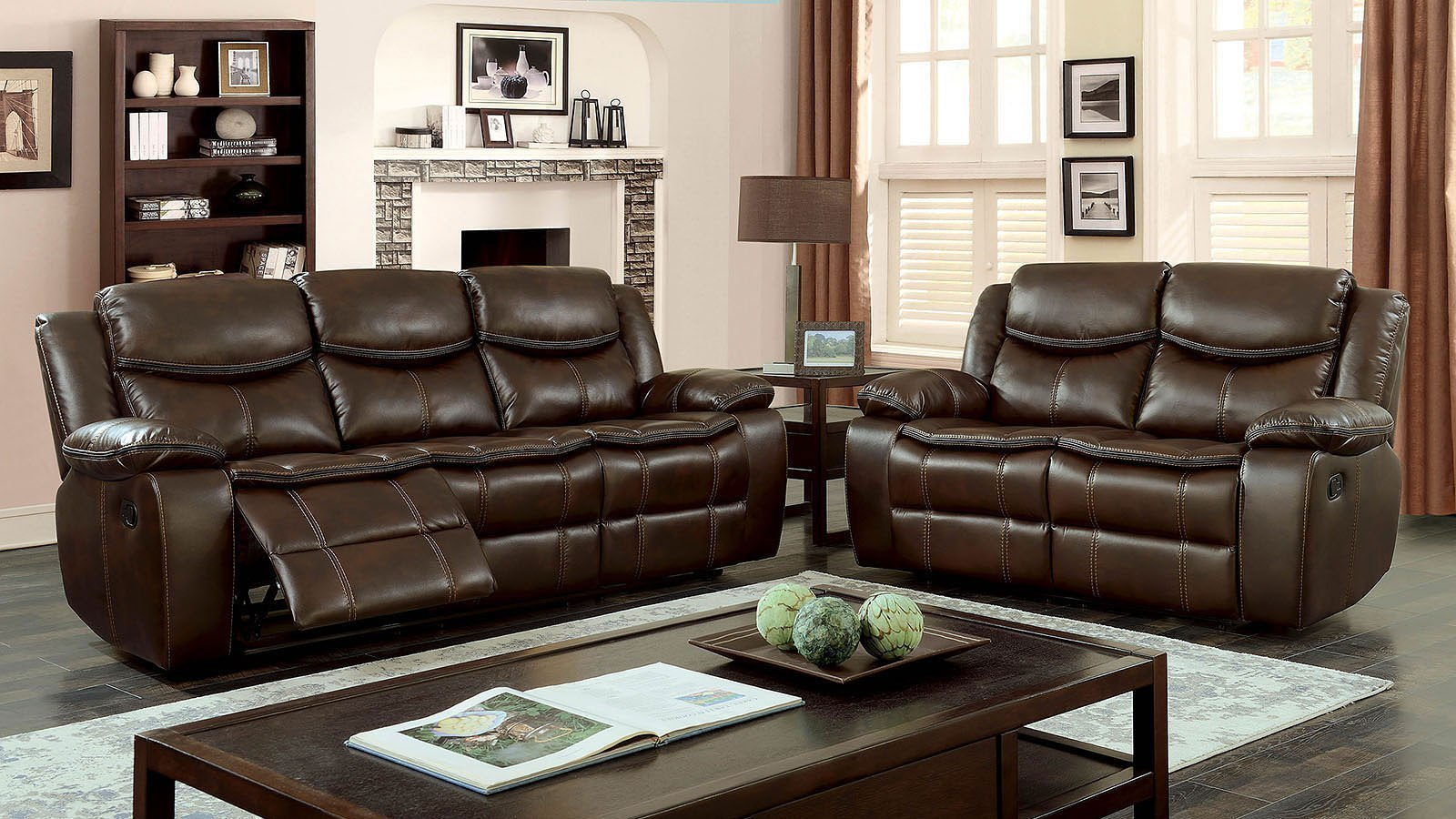 Pollux Reclining Living Room Set (Brown)