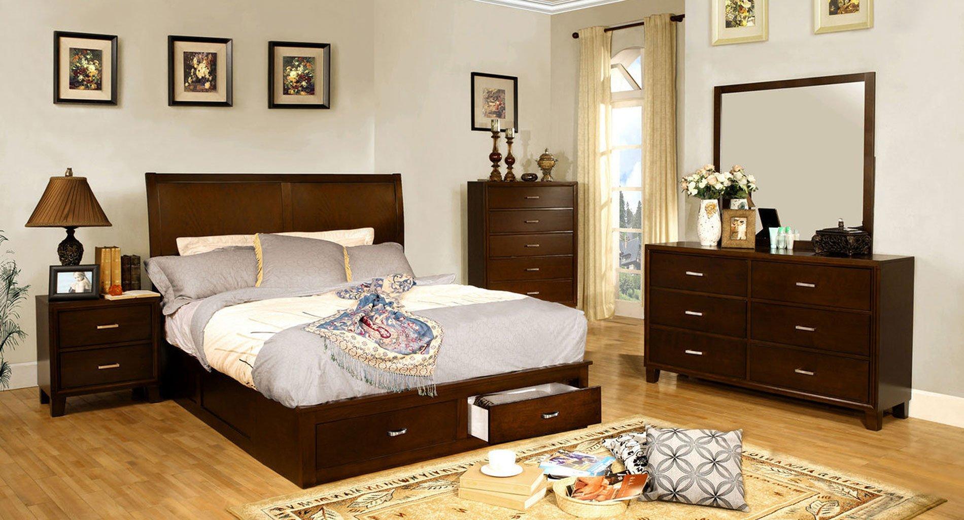 Enrico storage platform bedroom set brown cherry - Platform bedroom sets with storage ...