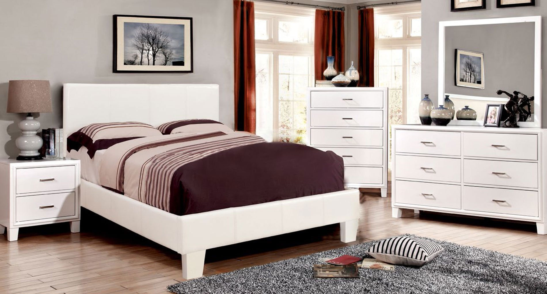 Enrico Bedroom Set w/ White Winn Park Bed