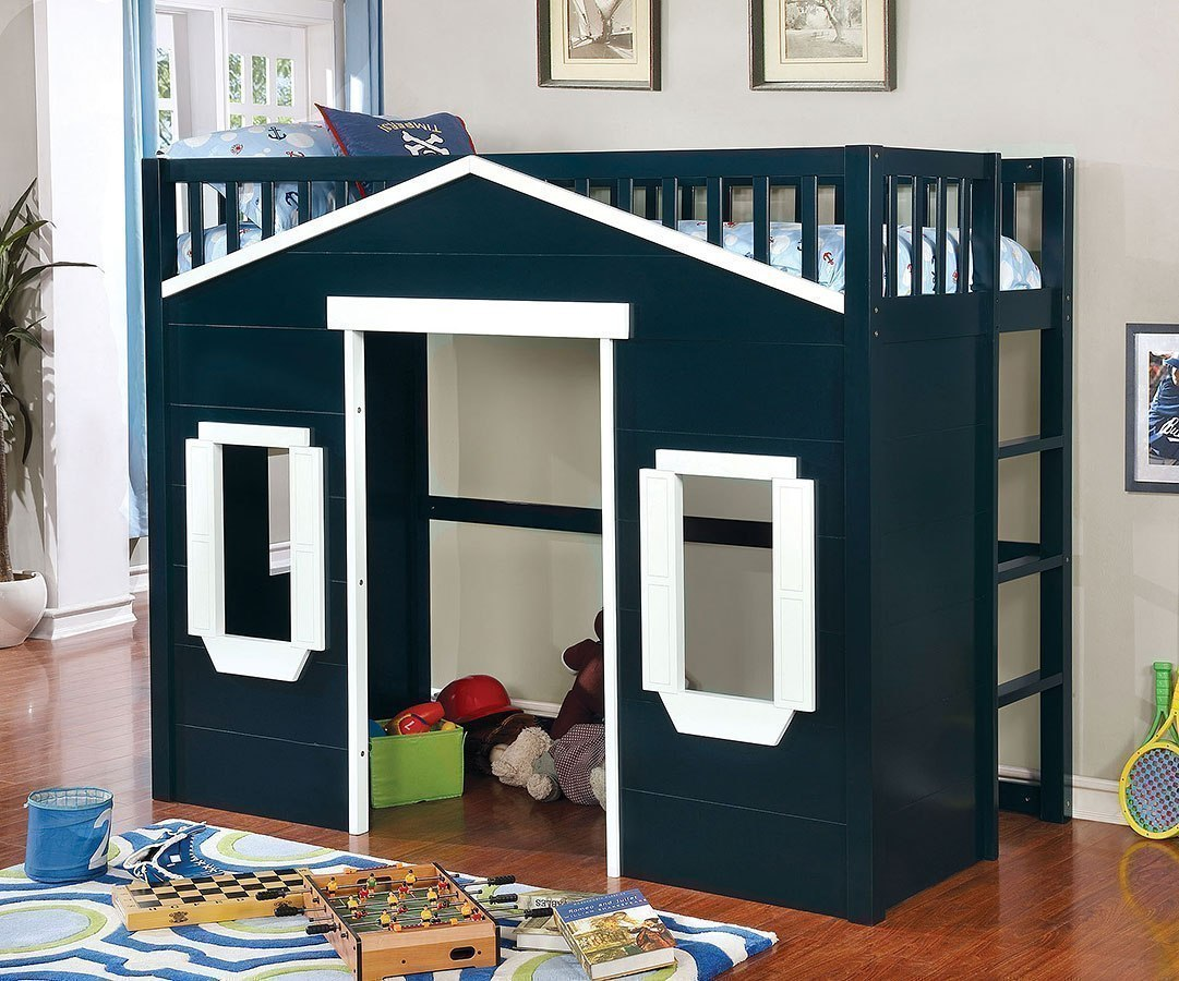 Twin Loft Bed.Eileen Twin Loft Bed Dark Blue And White
