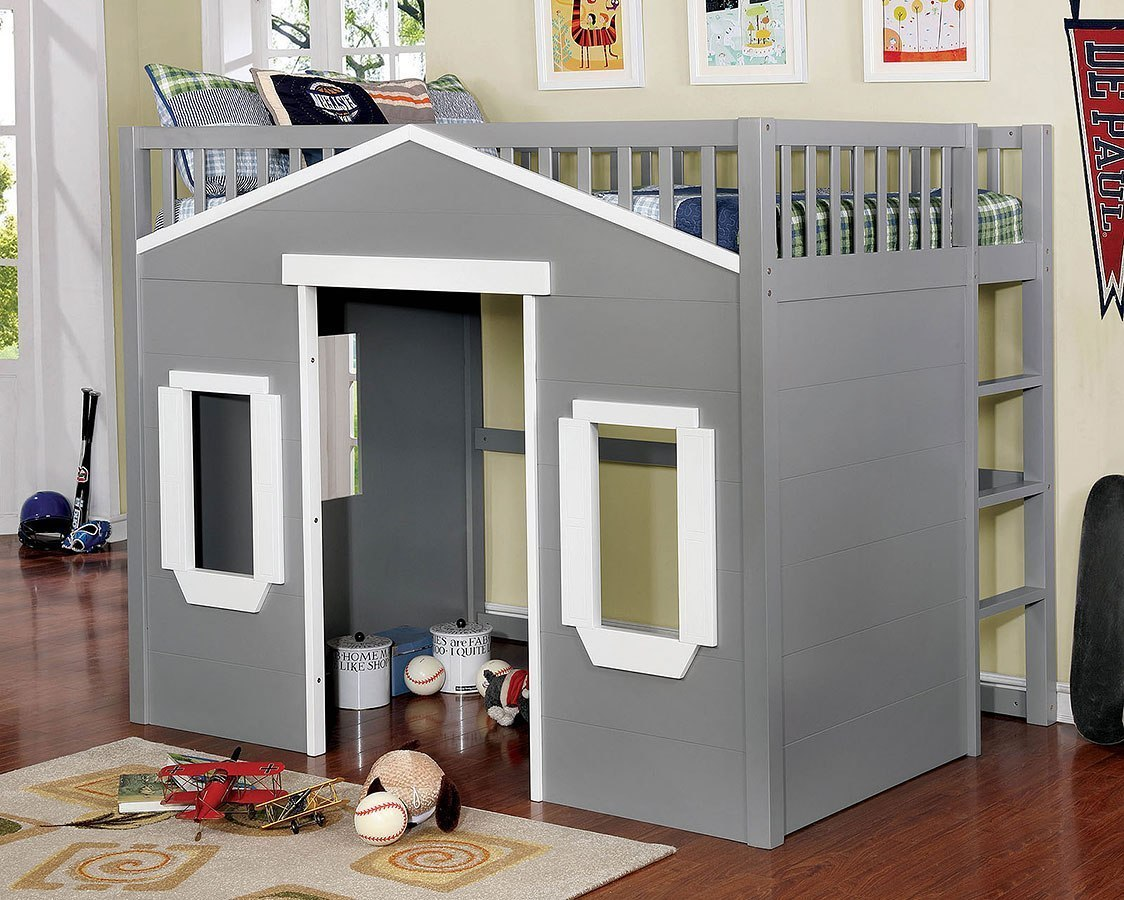 Eileen Full Loft Bed Gray And White Furniture Of America