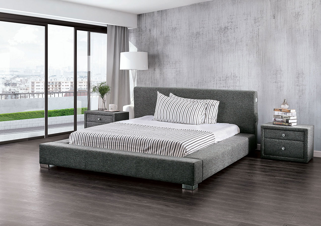 Canaves Dark Gray Platform Bed Furniture Of America Furniture Cart