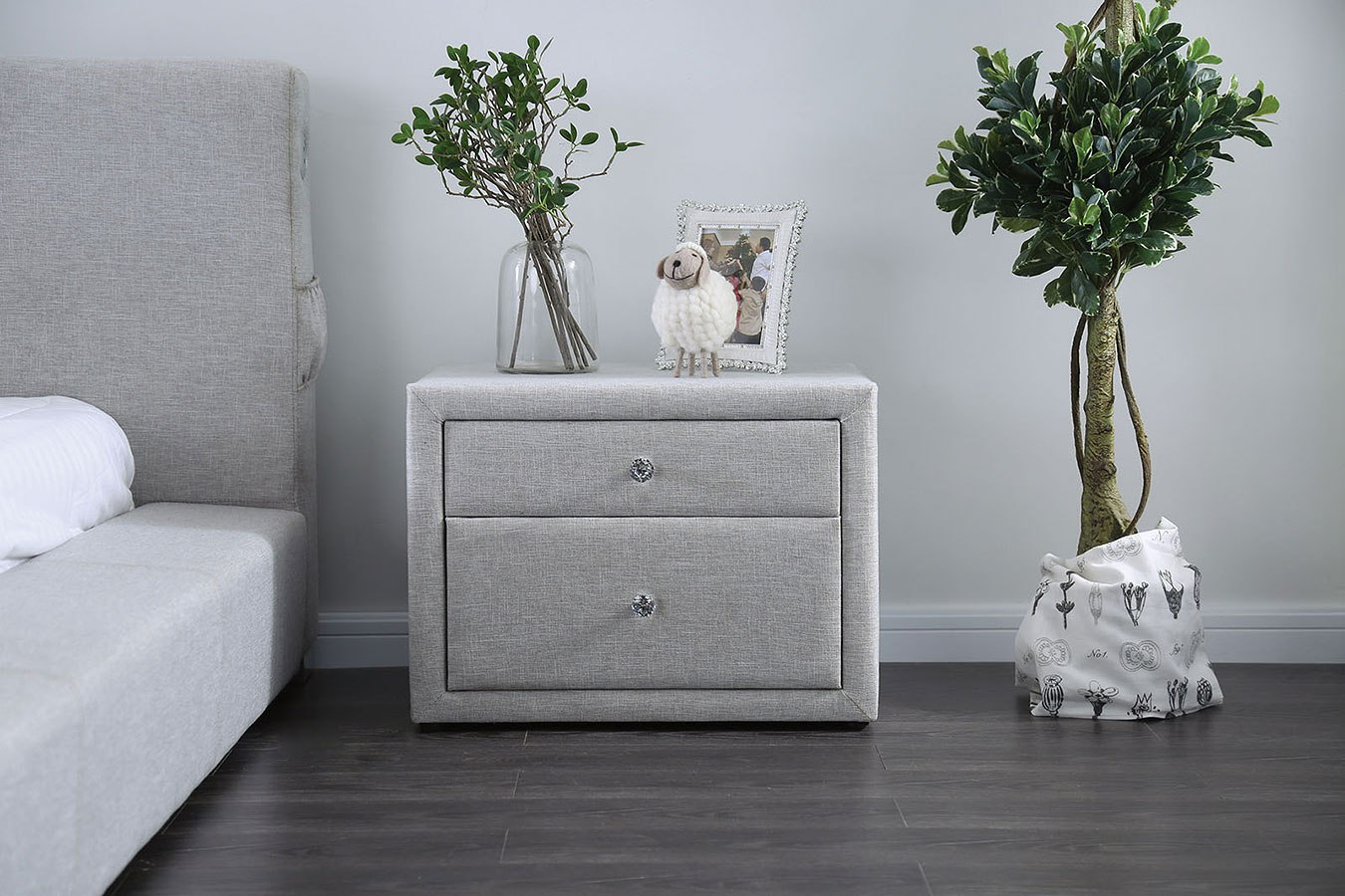 Canaves Light Gray Upholstered Nightstand Furniture Of America Furniture Cart