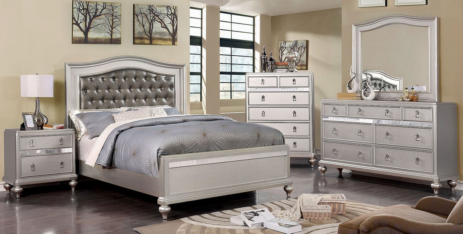 ariston panel bedroom set silver furniture of america 13152 | cm7171sv q br set 1