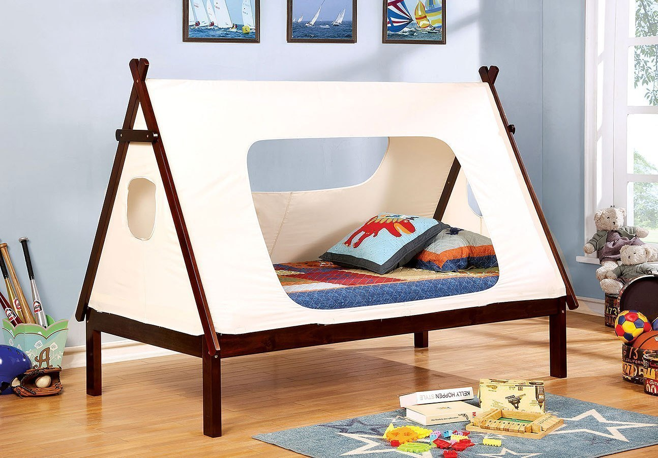Debra twin bed white and dark walnut furniture of america