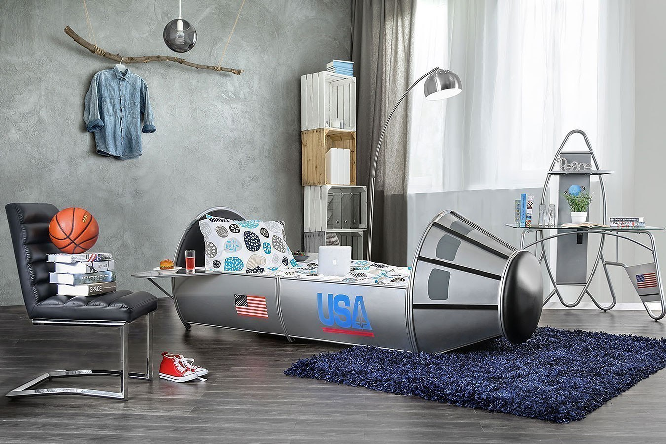 Orbiter Novelty Bedroom Set (Silver)