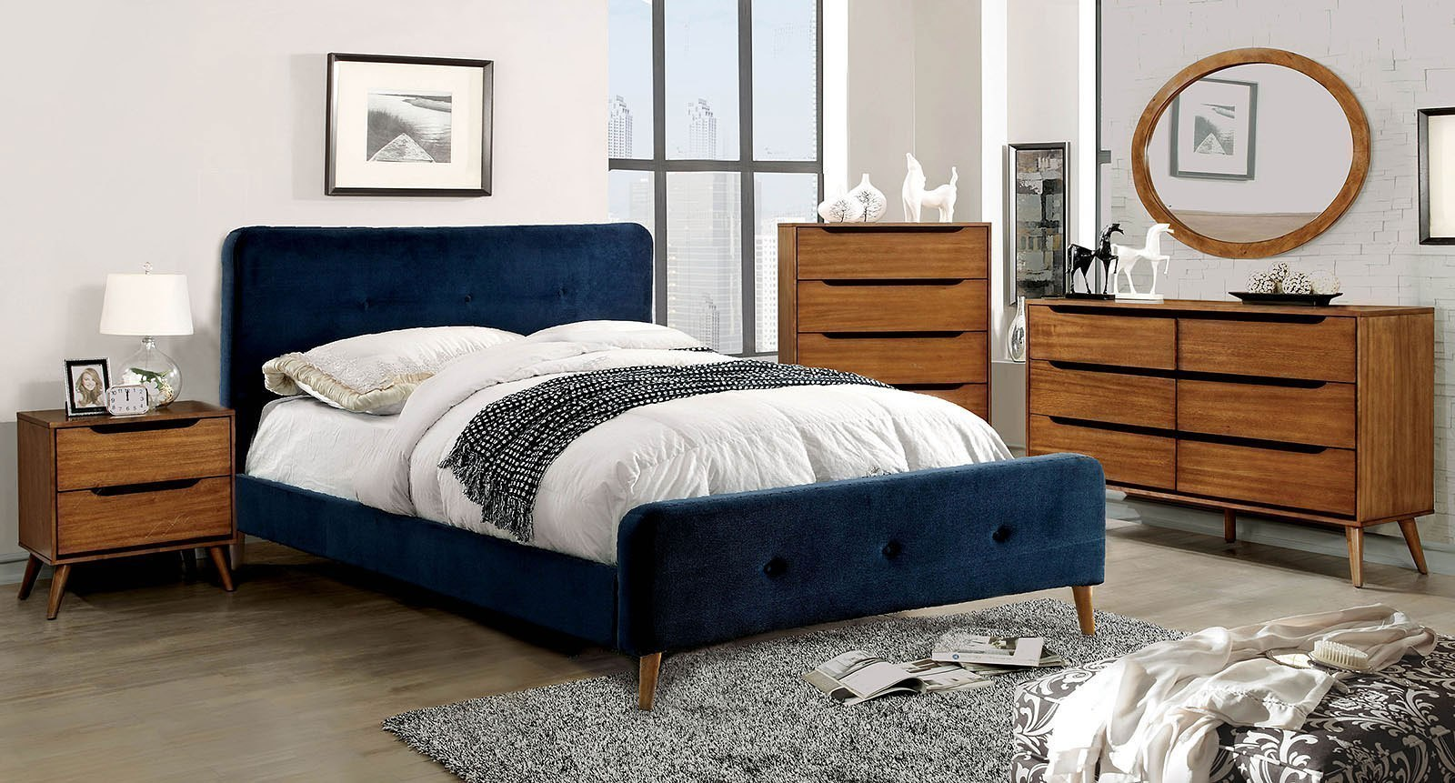 Barney Upholstered Bedroom Set Navy