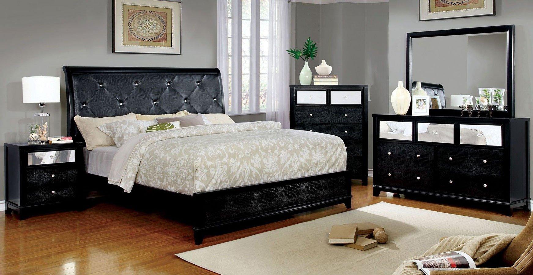 Bryant II Sleigh Bedroom Set (Black) Furniture Of America ...