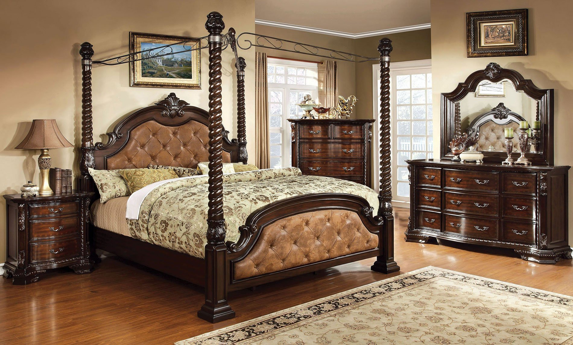 Monte Vista Canopy Bedroom Set (Dark Brown) Furniture Of