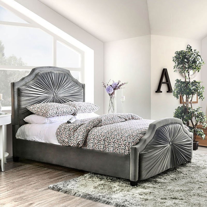 Coraline Upholstered Bed Furniture Of America Furniture Cart