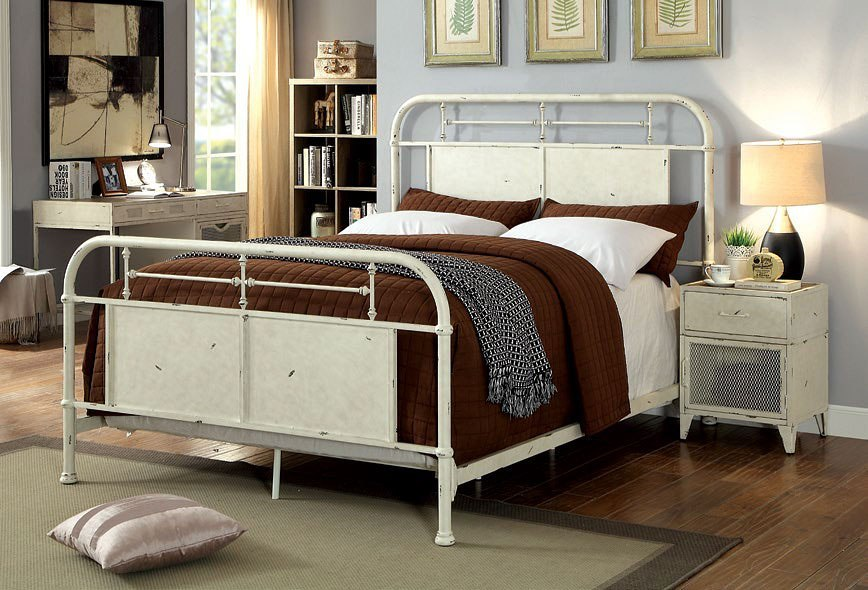 Haldus metal bedroom set distressed white furniture of - Distressed bedroom furniture sets ...