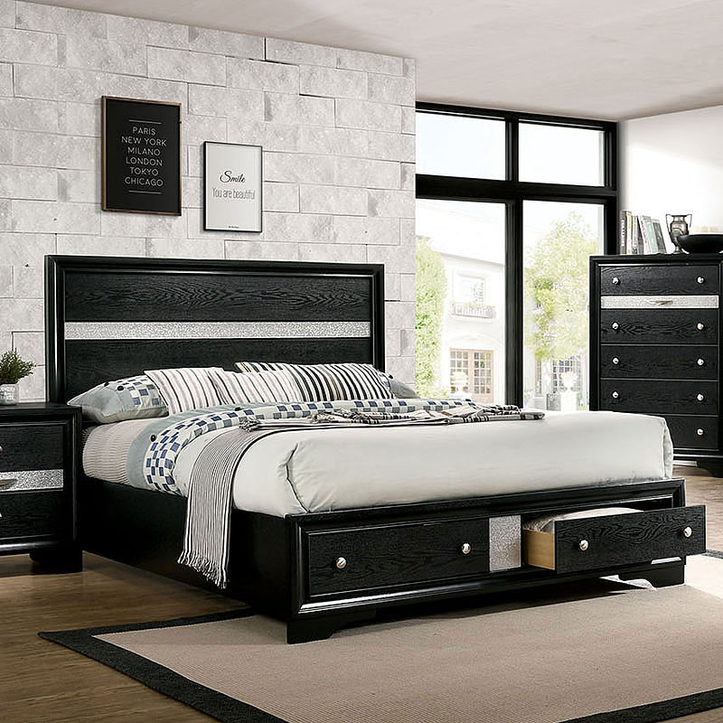 Chrissy Storage Bedroom Set (Black)