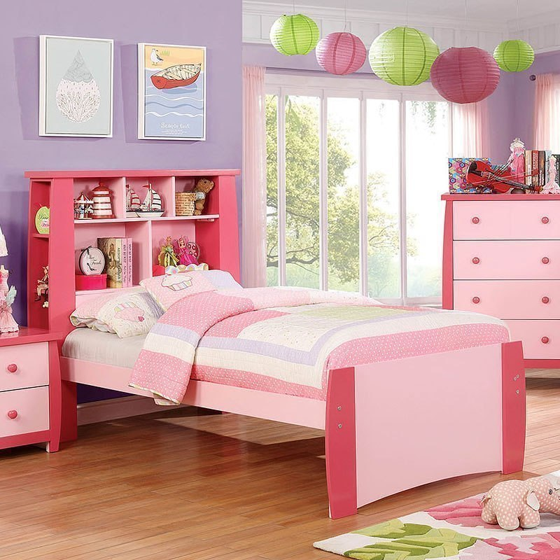Marlee Youth Bookcase Bed Pink