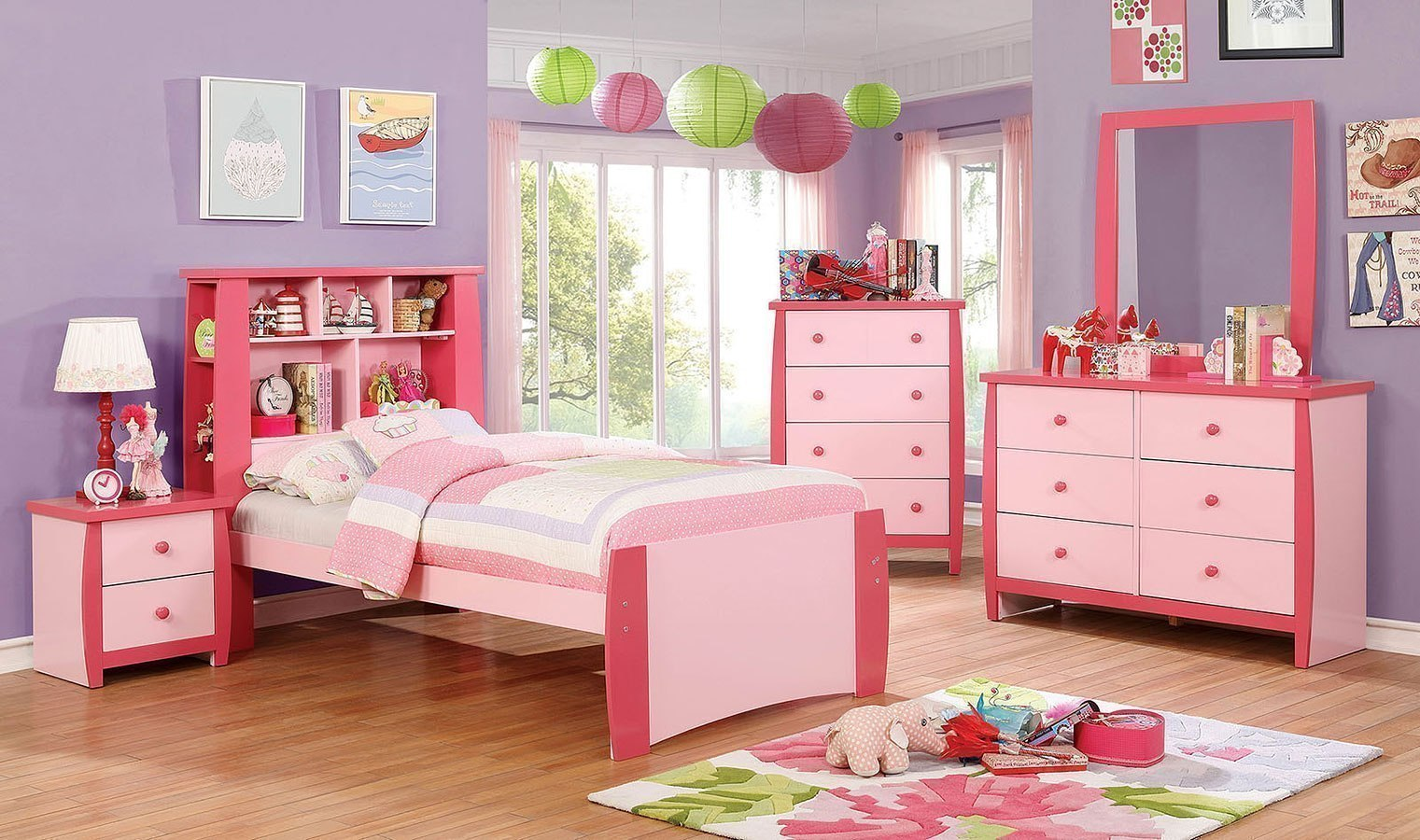 Marlee Youth Bookcase Bedroom Set Pink