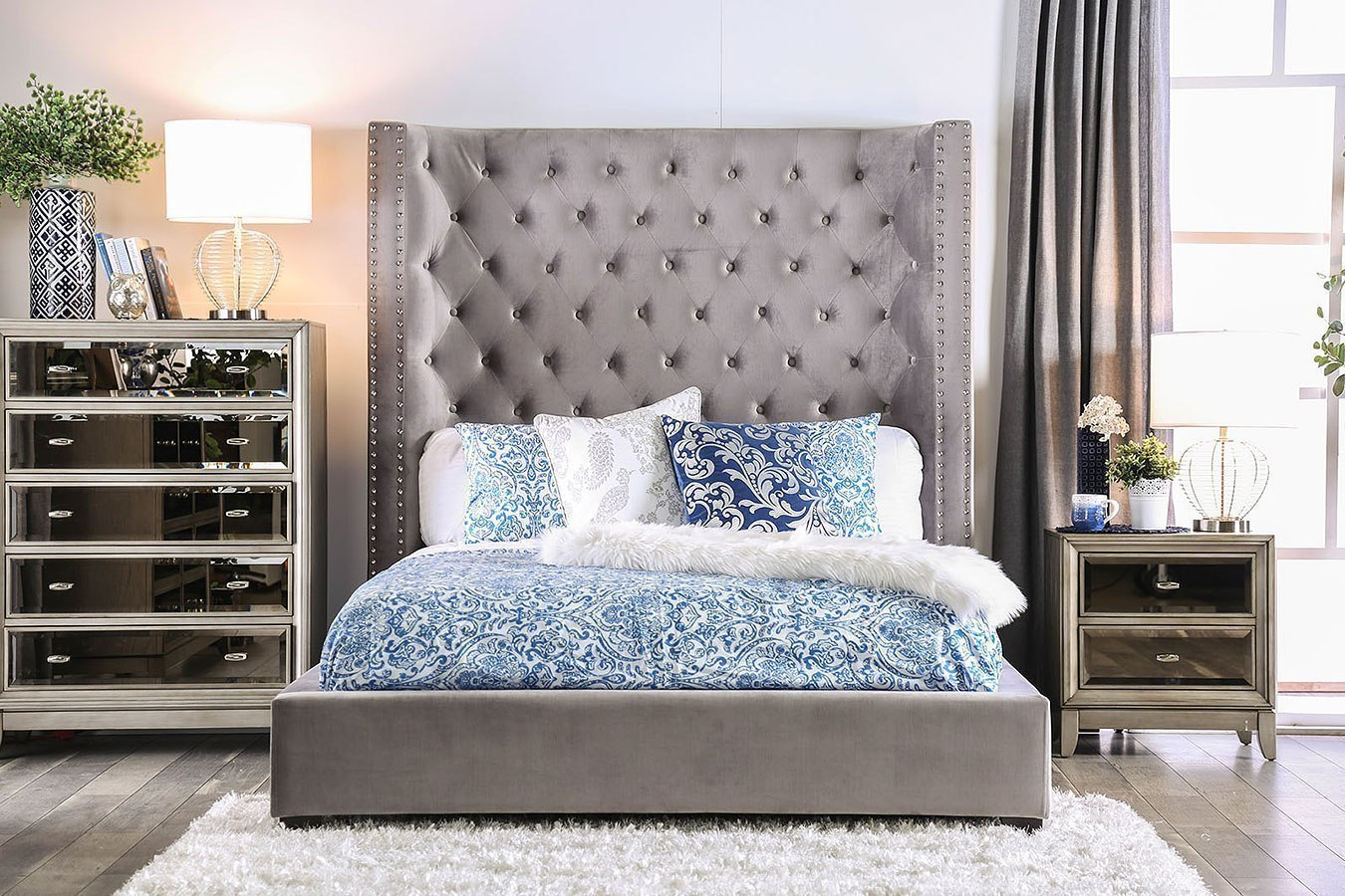 Mirabelle Upholstered Bedroom Set (Gray) Furniture Of ...