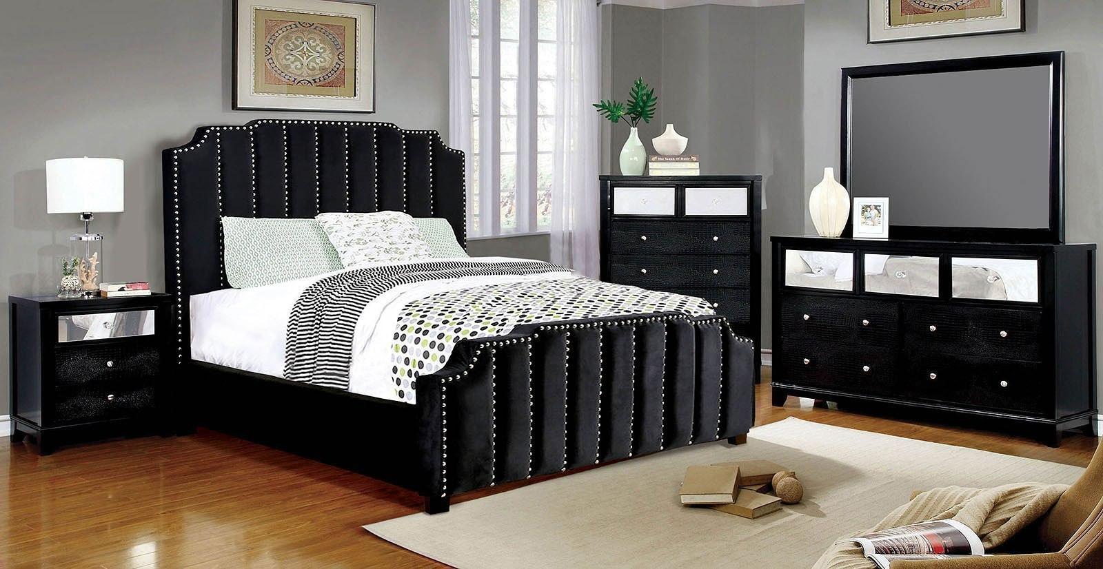 Atria Upholstered Bedroom Set Black