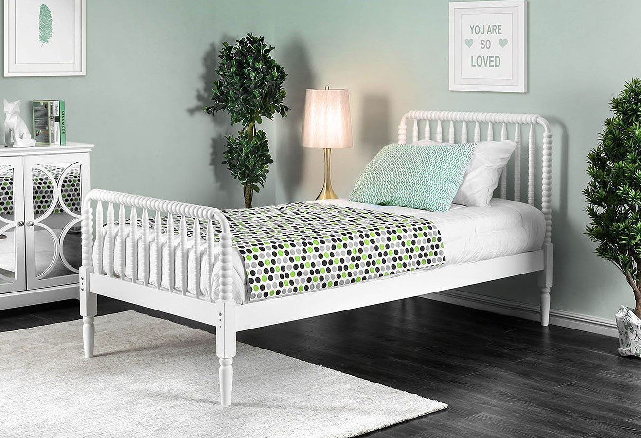 Jenny Queen Bed (White)